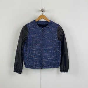 Madewell Shimmer Weave Leather Sleeve 03700 Jacket